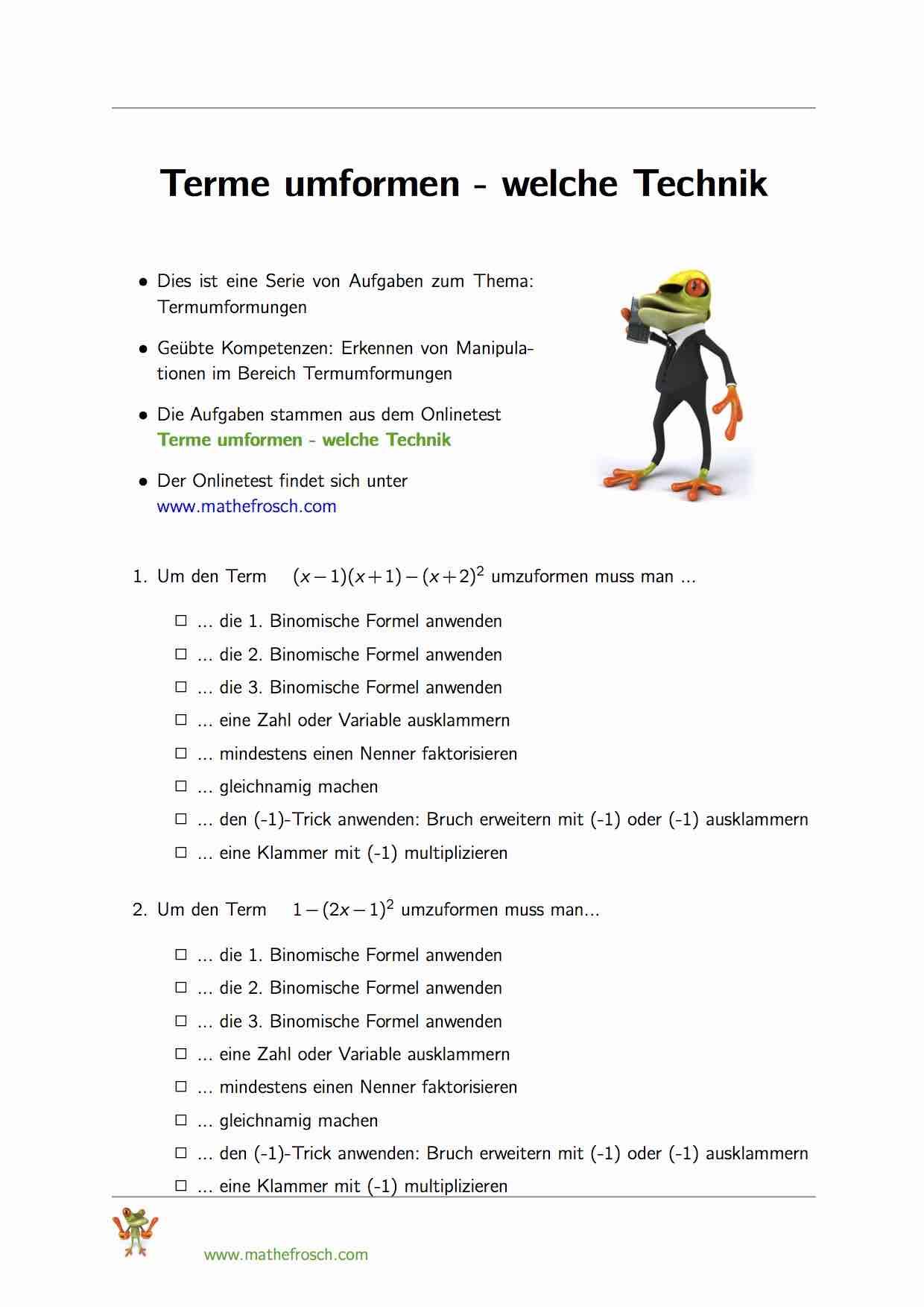 Terme umformen   welche Technik   Mathematik lernen